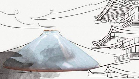 """斗笠杯·日本富士山    斗笠杯,型如蓑翁之斗笠,口部大,底足小,杯身的线条极为简雅,大开大合的线条表达着淳朴的民风,是历史非常悠久的茶杯。  而谈到喝茶的历史民风,不得不提到日本的茶道。日本茶道起源于中国,是在""""日常茶饭事""""的基础上发展起来的,而日本人则在数个世纪的漫长历史中,将它发展为其民族茶文化中最具特色的文化之一。在历史与民风的碰撞中,斗笠杯与日本富士山便可以如影重叠。"""